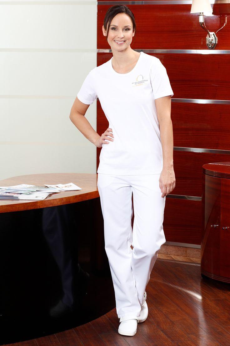 Hose Lady Daly [Tivoli] lang - in weiß mit Knopf und Reißverschluss, ohne Taschen, Bund mit Gürtelschlaufen, gerader Schnitt,