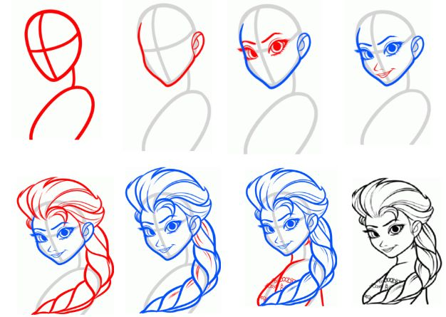 how to draw elsa step by step