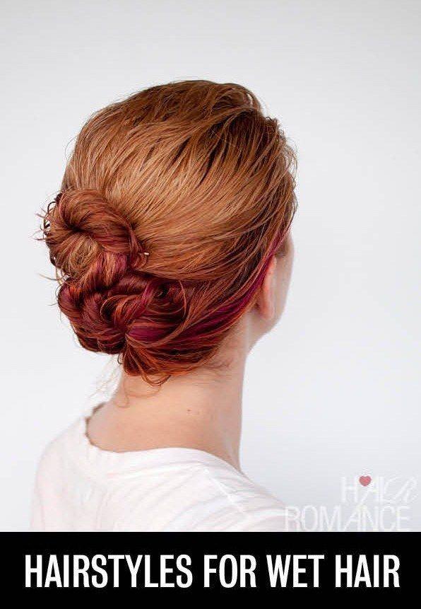 Con el objetivo de evitar secar todo tu cabello con la secadora, puedes hacerte este peinado con mechones húmedos...