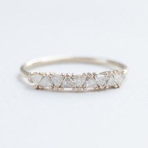 MOCIUN | Custom Trillion cut White Diamond wedding band