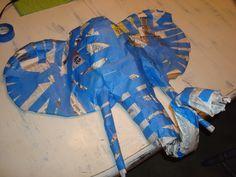 newspaper & tape elephant