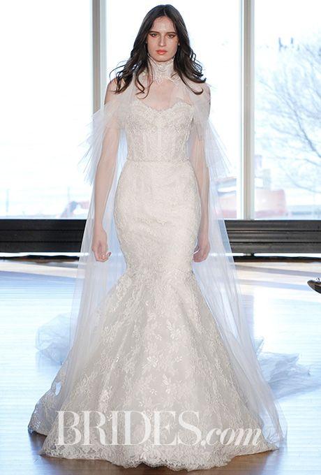 """Brides.com: . """"Priscilla"""" corseted translucent mermaid in a mix of Alencon Laces with body veil, Rivini by Rita Vinieris"""
