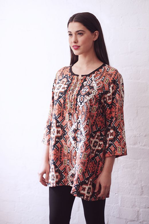 Beaded & Embroidered Tunic in Kilim http://cakeclothing.net/collections/winter-15/products/beaded-kilim-tunic