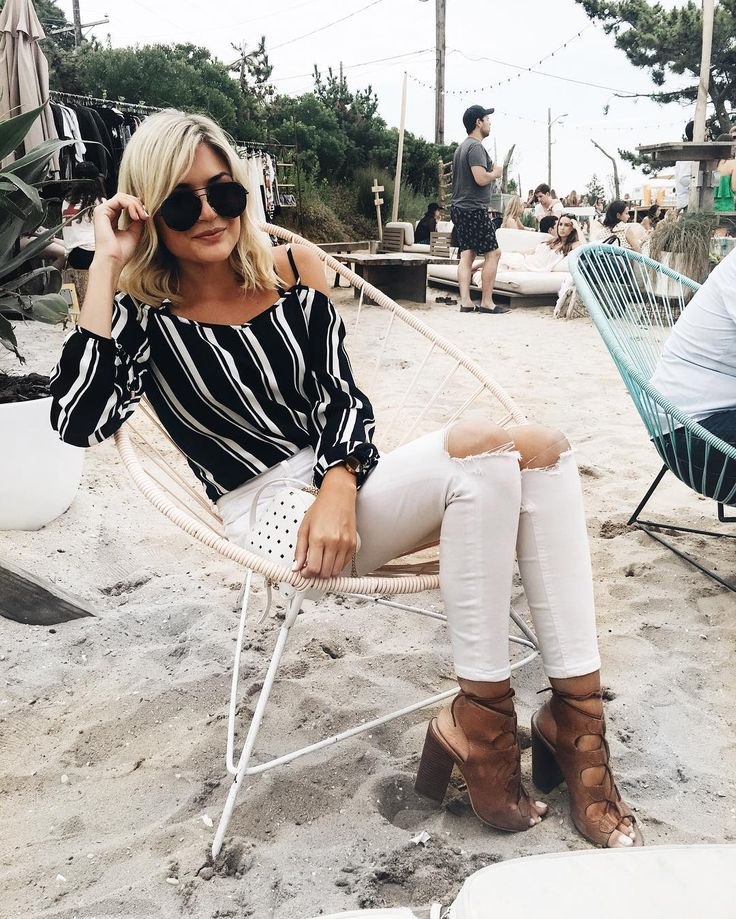 Beachy vibes in our striped blouse. @emily_luciano https://www.instagram.com/p/BIgKIXXju79/?taken-by=emily_luciano