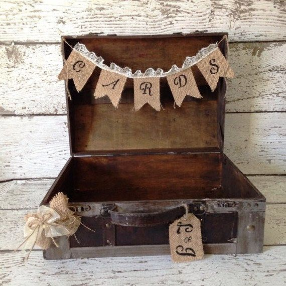 Rustic Wedding Card Box Burlap Banner Ch02a
