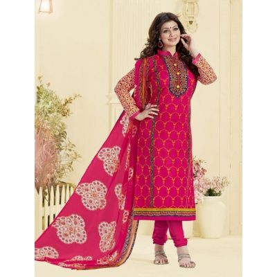 Ailurophile Pink Color Cotton Suit comes with Matching Color Bottom & Chiffon Dupatta. It contained the Printed work and emboidery. The Salwar Suit can be customized up to bust size 42