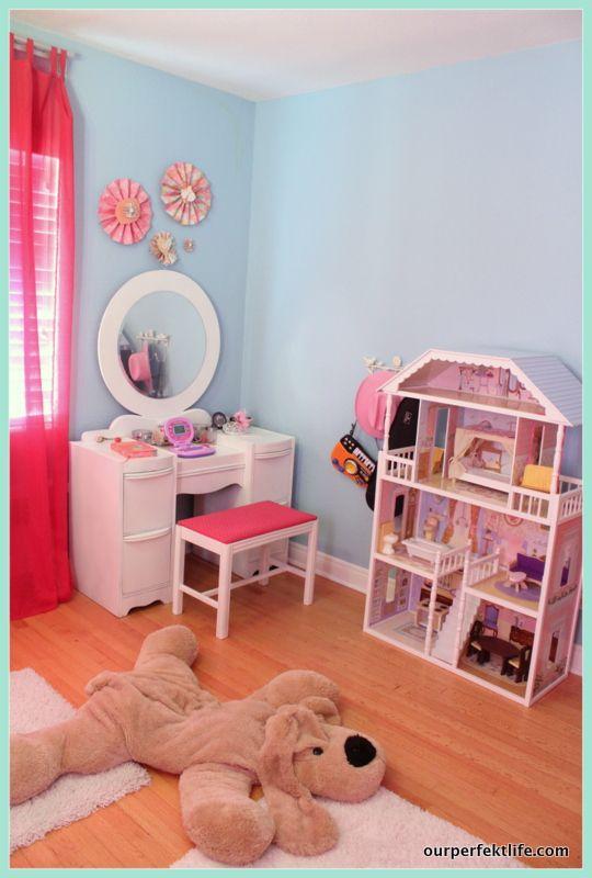 diy vanity for little girl. girl s vanity  Remodelaholic DIY Hanging Loft Bed in a Girl Bedroom 119 best Big Room images on Pinterest rooms Girls