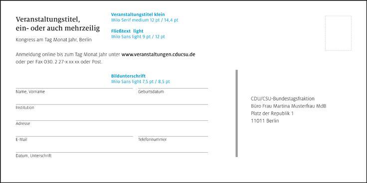 Cdu Csu Corporate Design Geschaftsausstattung Einladung Einladung Din Lang Querformat Einladungen Bildunterschrift Din Lang