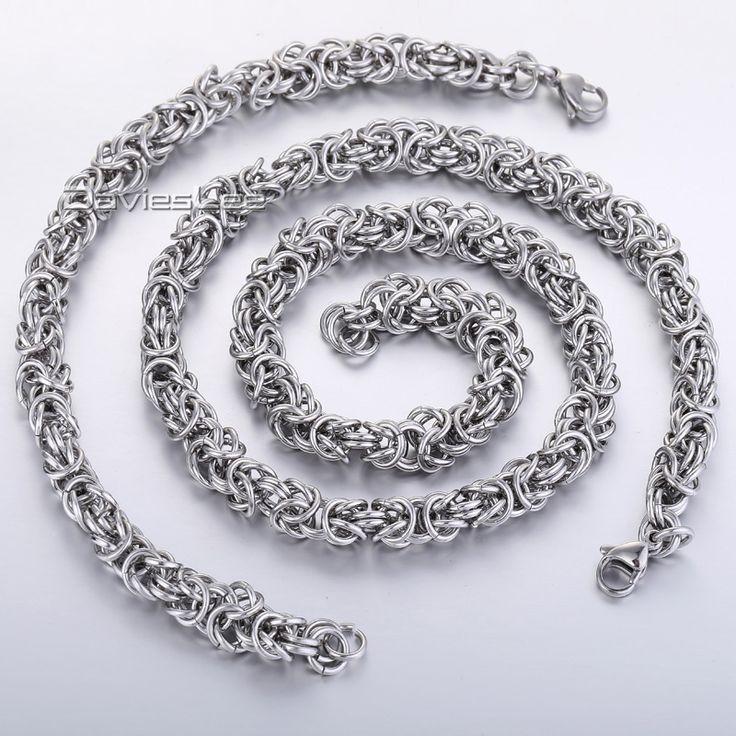 7/9mm Flat Byzantine Silver Tone Stainless Steel Chain Necklace Bracelet Jewelry Set Mens Chain Wholesale Jewelry Set KS57
