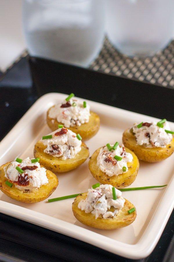 Easy 3-Ingredient Stuffed Mini Potatoes. Greek flavours, all tucked into a mini potato bite. |www.flavourandsavour.com