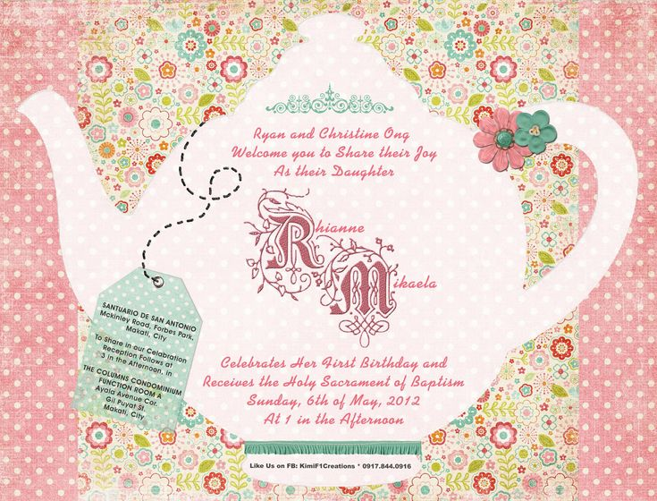 tea party invitation template. freshness tea party invitation, Party invitations