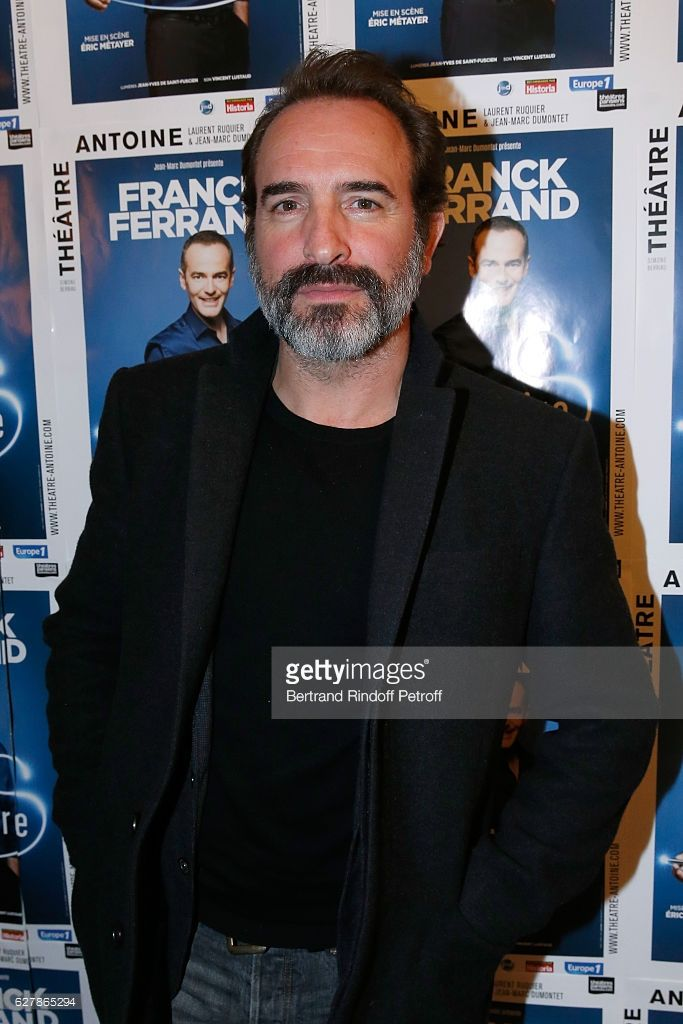 Actor Jean Dujardin attends Franck Ferrand performs in his Show 'Histoires' at Theatre Antoine on December 5, 2016 in Paris, France.