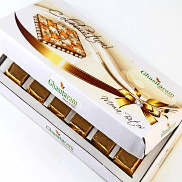 A #beautiful box containing crunchy square shaped bites made from Cashewnuts, Almonds, Pistachios, Liquid Glucose, Sugar, #Chocolate, #Strawberry and Pure Desi Ghee. It comes in three flavors #chocolate, strawberry, and plain. You have to taste it to believe it.