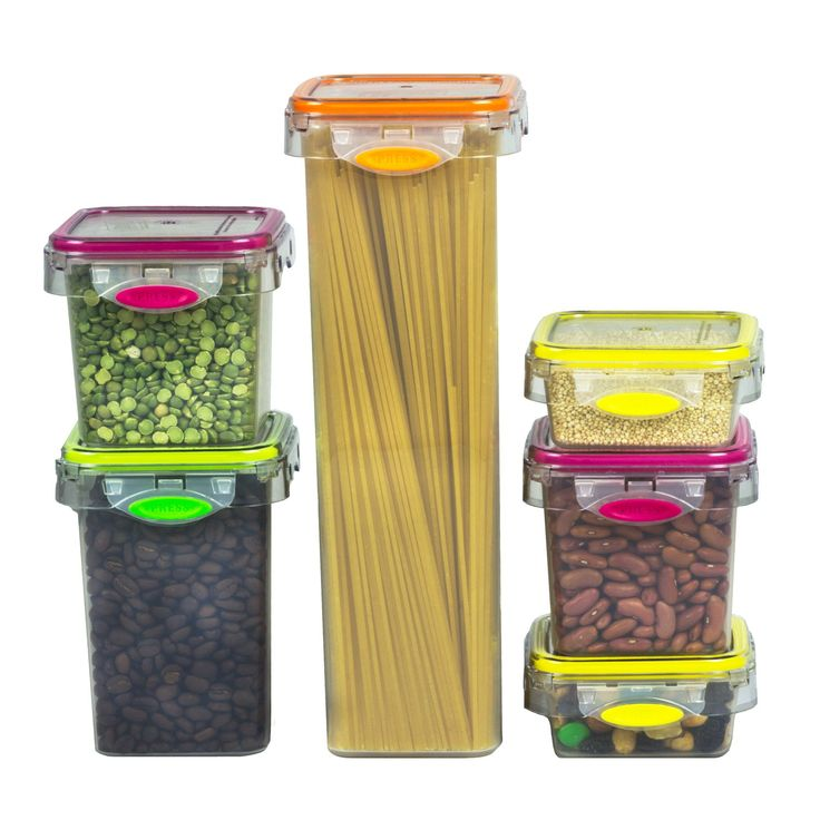 Stor All Press N Click 12 Piece Pasta And Snack Plastic Food Storage Kitchen  Container
