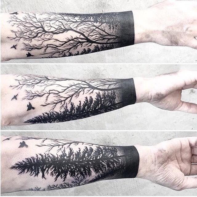May do something like this around a calf. I really like the design. My put a nerdy spin on it and make it more video game related.. like a road with a silent hill sign going into the woods.