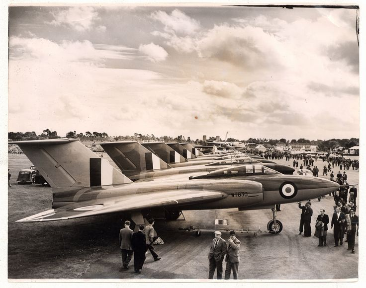 RAF Gloster Javelin fighters at Farnborough Airshow in the 1950s or 60s.