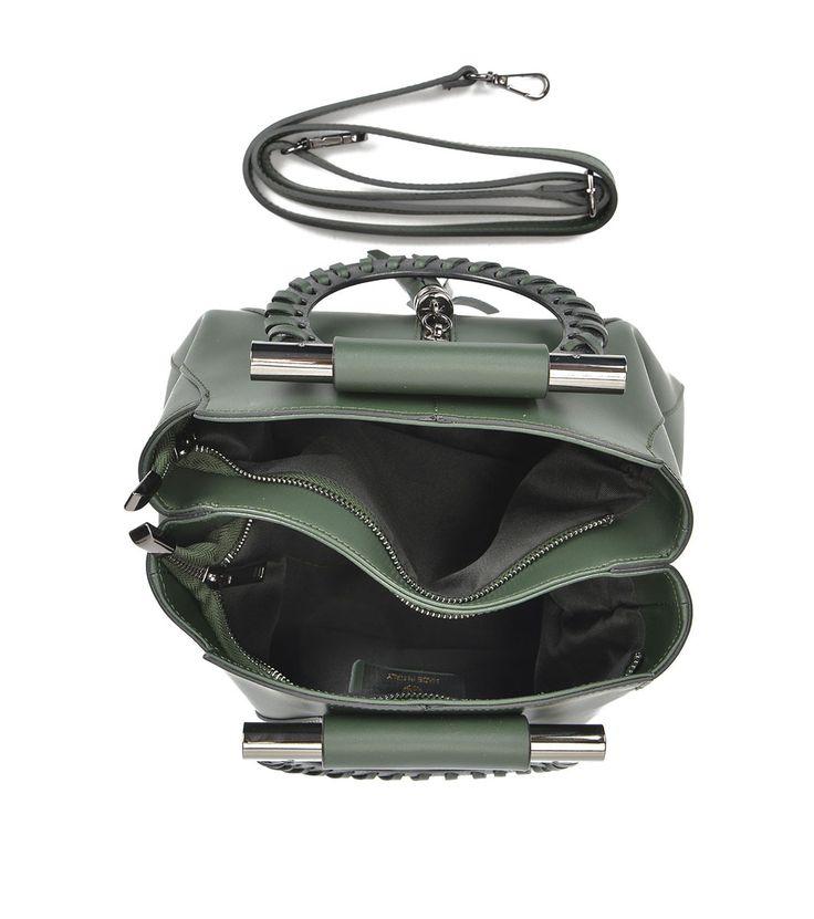 FashionSupreme - Geantă verde cu mânere spectaculoase Klea - Accesorii - Genţi - Anna Luchini - noua colecție de toamnă-iarnă. Haine şi accesorii de marcă. Haine de designer.