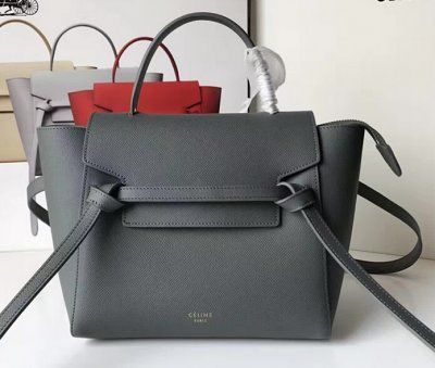 2017 Celine Belt Tote Small Bag In Epsom Leather Dark Grey