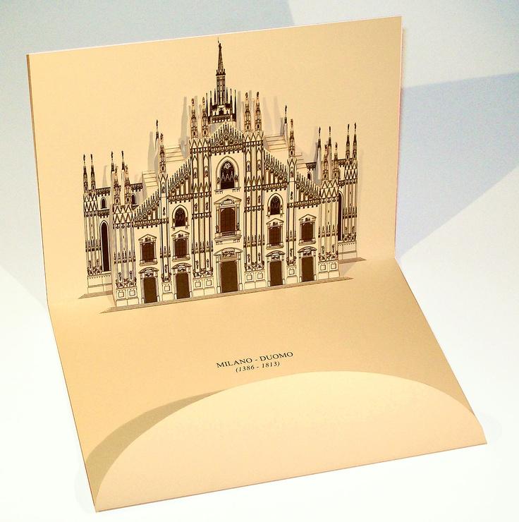 3D pop-up kirigami postcard of Duomo di Milano