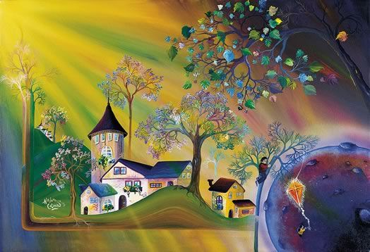 """""""Rescatando una ilusión""""     Entre ramas, el sueño de una niña. Apenada está, lo cree perdido.   Y allí va el padre, a recuperar la ilusión, a devolverle la alegría; pues si de un hijo se trata, sabido es que cualquier astro queda cerca...   Alejandro Costas - Artista Plástico Argentino"""
