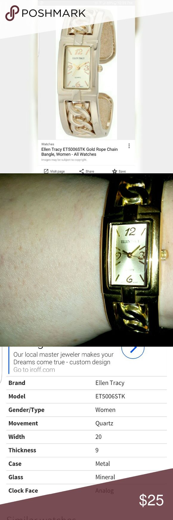 Ellen Tracy Gold Rope Chain Bangle Watch Needs a new battery but GUC.... Pic 3 describes the features...Feel free to ask any questions.... Comes w a generic white box... Make an offer through OFFER button  Negotiations welcome No trades No PayPal Bundles encouraged Ellen Tracy Accessories Watches