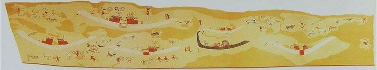 Reconstruction of a painted wall from Hierakonpolis tomb 100, ca. 3500 BC - Naqada II.