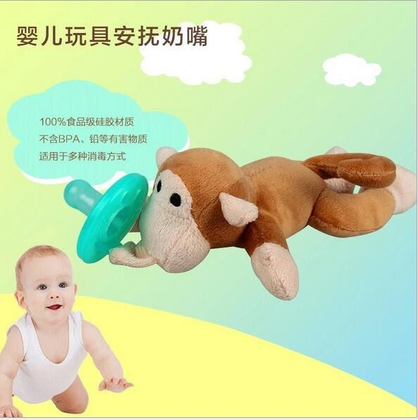 Newborn silicone funny baby pacifier clips chain wubbanub animal pacifier with plush toy soother nipple dog monkey caterpillar