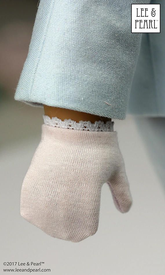 L&P 2064: Posh Accessories Pattern for 18 inch dolls — like these dainty lace-edged gloves that perfectly fit our American Girl doll.