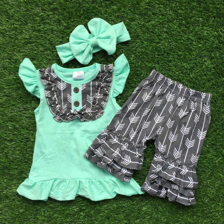 girls boutique clothing grey arrow shorts children summer clothing matching headband