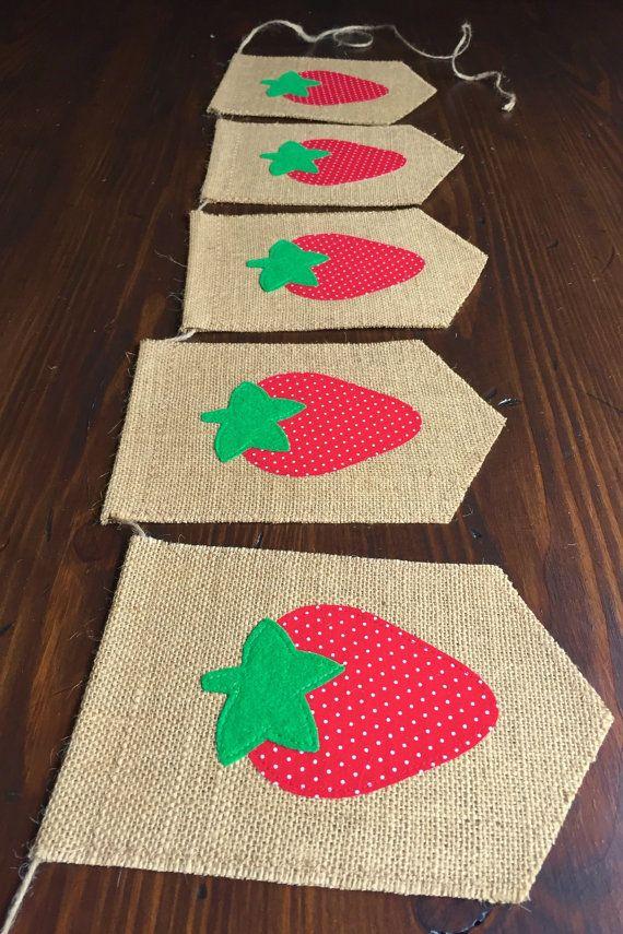 Strawberry Birthday Bunting Banner//First Birthday by asherblaine