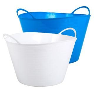 Flexible White and Blue Plastic Storage Tubs with Handles, 14¼