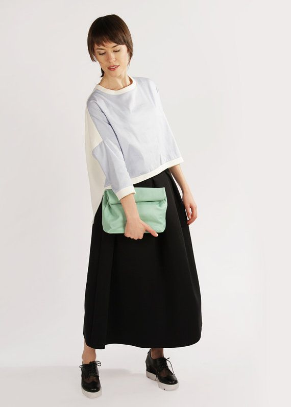 Genuine Leather Lunch Bag for Women Claude Menthol by ARadaStore
