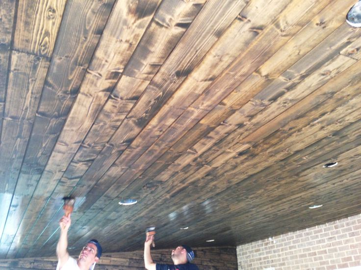 Stained Tongue And Groove White #pine Porch Ceiling. #Minwax In #Jacobeanu2026