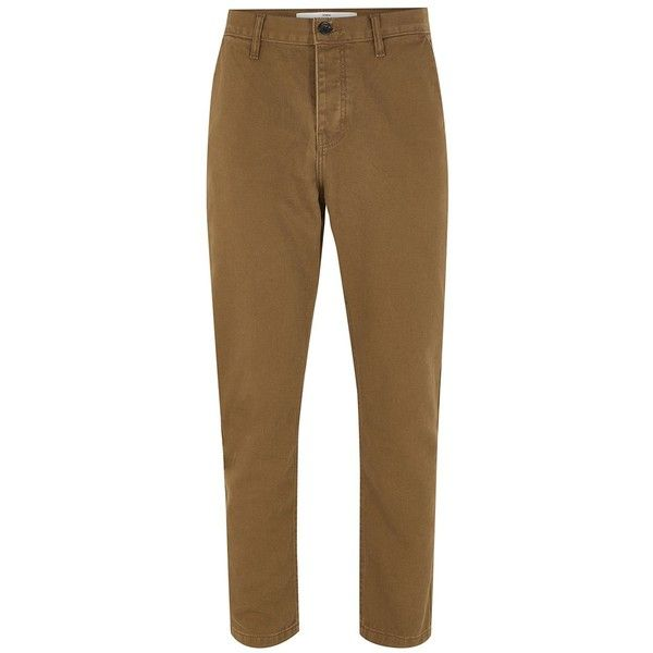 TOPMAN Tobacco Brown Twill Tapered Chinos (220 CNY) ❤ liked on Polyvore featuring men's fashion, men's clothing, men's pants, men's casual pants, brown, mens slim fit pants, mens slim fit chino pants, mens slim fit twill pants, mens twill pants and mens tapered pants