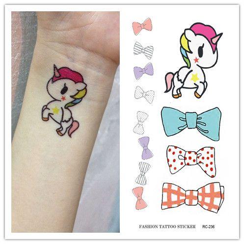nice RC2236 Waterproof Fake Tattoo Stickers Cute Cartoon Horse Bow Tie Pattern Design Water Transfer Large Temporary Tattoos Sticker