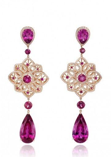 Chopard Pair of Earclips A FINE RUBELLITE AND DIAMOND 'BYZANTINE' SET