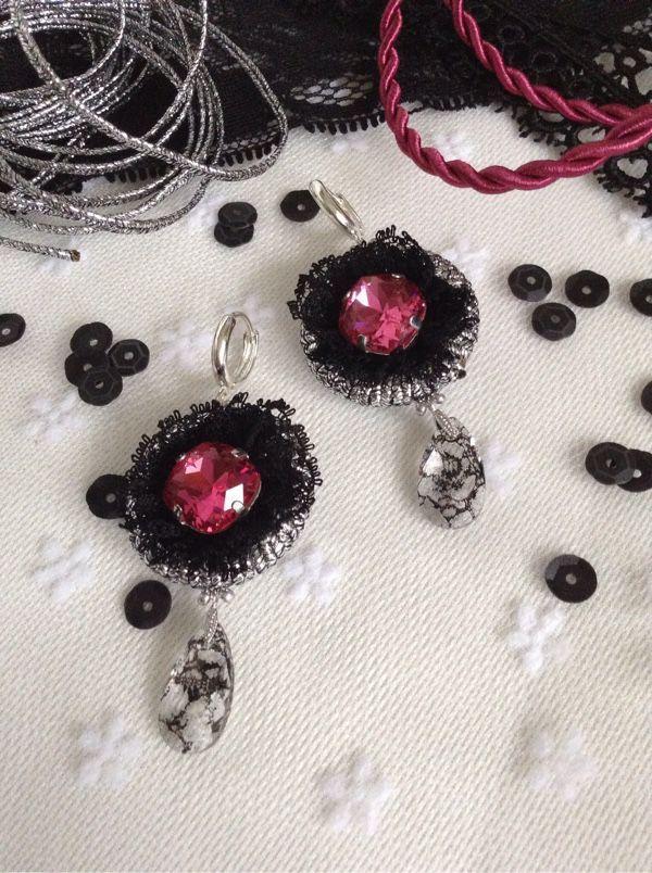 """Купить Серьги """"Черная роза"""" - серебряный, серьги ручной работы, сутажные украшения, сутаж"""