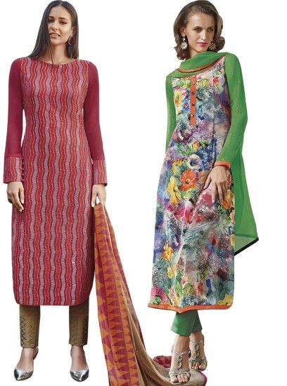 Graceful Printed Crepe Straight Cut Style Maroon & Multi Combo Suit D.No.- 6544,6549