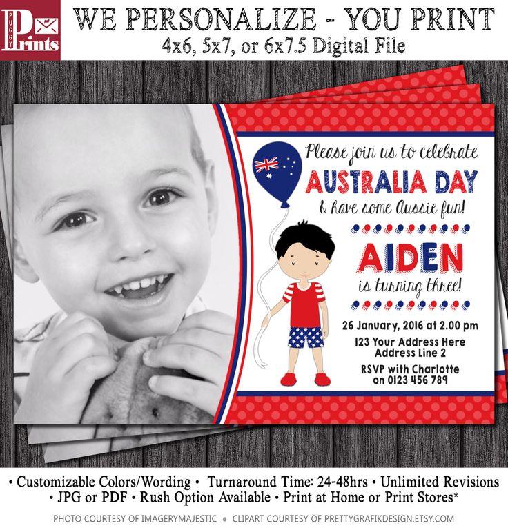 Australia Day Birthday Invitation - Australia Day Invitation by PuggyPrints on Etsy