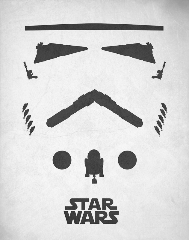 Minimalist of poster of a Stormtrooper using other Star Wars objects.