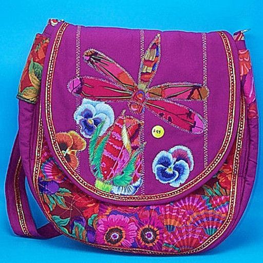 Red/flowered quilted Handbag with a large Dragonfly and Pansies