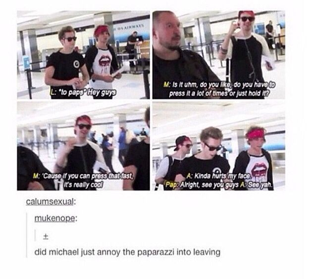 Good job Michael. He doesn't just have a good gaming strategy , he also has a good strategy to getting rid of paps \(^o^)/