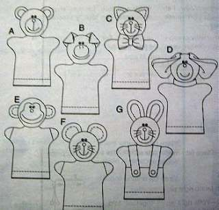 Hand Puppet Patterns | FLEECE HAND PUPPETS PATTERN Pig Bear Monkey Dog Cat Mouse Bunny