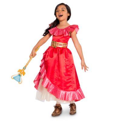 Tu pequeña princesita brillará con este impresionante disfraz de Elena de Avalor. Hecho en elegante satén rojo, este hermoso traje incluye un cinturón con una piedra preciosa engastada, falda en capas y volantes de satén brillantes.