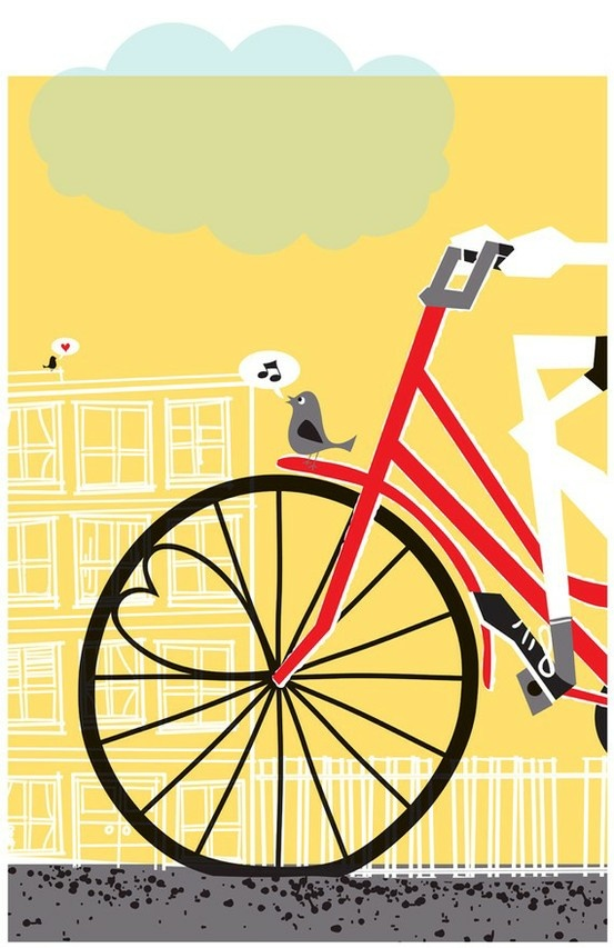 Vintage bike poster, the cityscape design behind it in monochrome is perfect