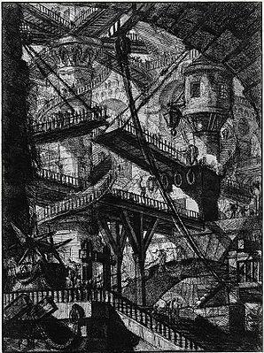 Forerunner of Escher's fantastic endless stairs: Piranesi's Carceri Plate VII – The Drawbridge, 1745, reworked 1761