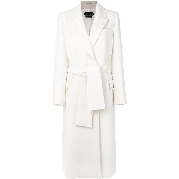 Tom Ford single-breasted belted coat ($3,105) ❤ liked on Polyvore featuring outerwear, coats, white, tom ford, single-breasted trench coats, belted coat, belt coat and coat with belt