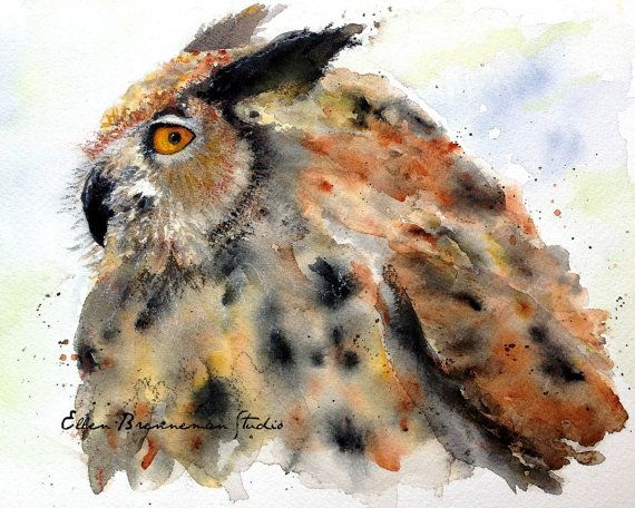 Great Horned Owl as part of my non-dominant hand series, 2014. #owl #owlart