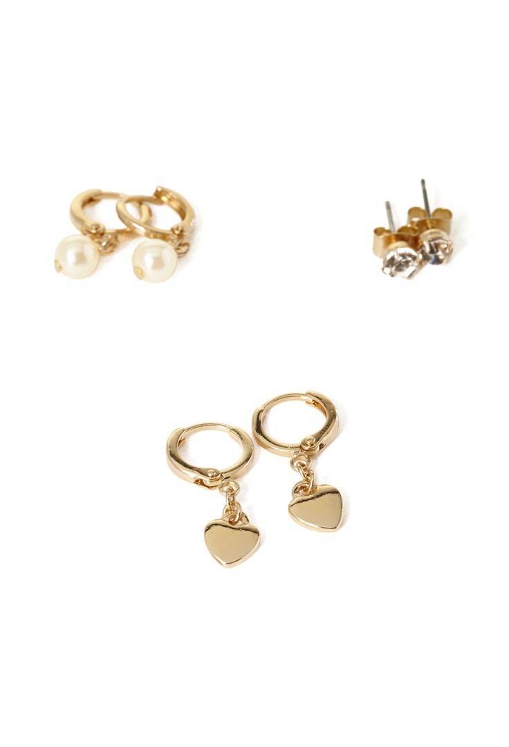 Heart & Faux Pearl Earring Set - Jewellery - 1000102831 - Forever 21 EU