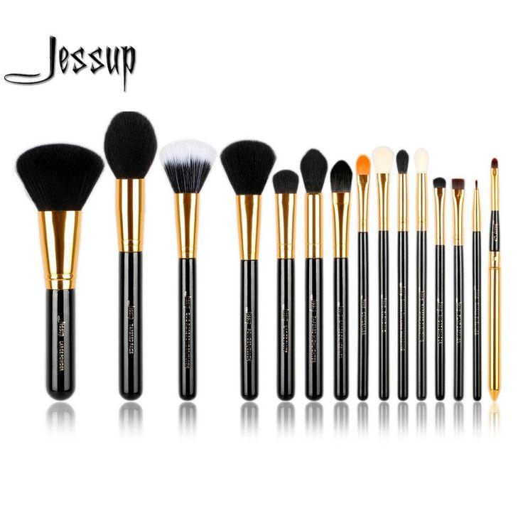 Jessup Pro 15pcs Makeup Brushes Set Powder Foundation Eyeshadow Eyeliner Lip Brush Tool Black and Gold